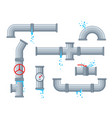 pipe with leaking water broken pipes with leakage vector image vector image