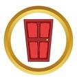 Red wooden door icon cartoon style vector image vector image