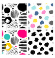 set 4 seamless doodle patterns vector image
