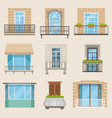 set of colorful beautiful balconies vintage vector image