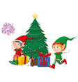 two elves and presents christmas tree vector image vector image