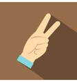 Two fingers raised up gesture icon flat style vector image vector image