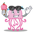 with ice cream cute jellyfish character cartoon vector image vector image