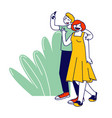 young man and woman couple with mobile phone make vector image vector image