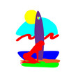 young woman windsurfing in the sea woman and vector image vector image