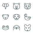 zoo icons set with bear mouse frog and other vector image