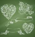 Set of romantic design elements on chalkboard vector image