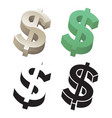 3d dollar sign set vector image