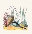3d drawing coral reef vector image