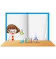 a girl on note border vector image