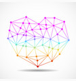abstract colorful geometric heart of lines and dot vector image vector image