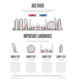 abu dhabi travel infographics in linear style vector image vector image