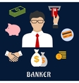 Banker and financial flat icons vector image vector image