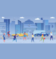 big city street with road traffic business part vector image