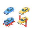 car repair isometric vehicle service changing vector image