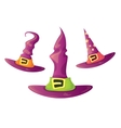 cartoon glossy pink witch hat isolated vector image vector image