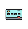 credit card flat color line icon vector image vector image