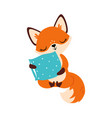 cute little fox sitting and hugging soft pillow vector image