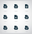 document icons set with system script multimedia vector image vector image