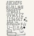 doodle complete alphabet set vector image