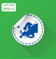 europe sticker map icon business concept europe vector image vector image