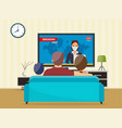 family with cat watching tv daily news vector image vector image