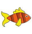 fish yellow orange sideview colorful icon image vector image