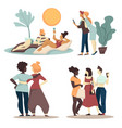 girlfriends and young female friends spend time vector image