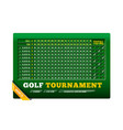 golf scoreboard with golf ball on vector image