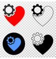 heart gear eps icon with contour version vector image vector image