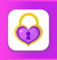 heart lock icon flat design valentines day love vector image vector image