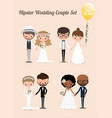 hipster wedding couple set 02 vector image vector image