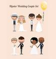 hipster wedding couple set 02 vector image
