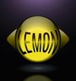 horizontal glass lemon blue text logo vector image