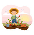 horticulture concept with young boy in garden vector image