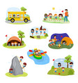 Kids camp children camper characters and