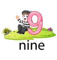 little pantomime playing with the 9 balloon number vector image vector image