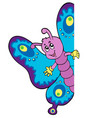 lurking cartoon butterfly vector image