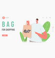 male character buying food in reusable eco vector image