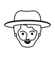 male face with hat and short hair and beard in vector image