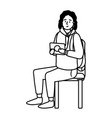man sitting on a chair black and white vector image