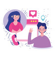 meeting online couple romantic video call vector image vector image