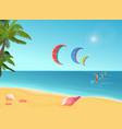 people with parachutes kiteboarding in sea vector image vector image