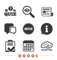 quiz icons checklist and brainstorm symbols vector image