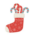 red sock with candy canes celebration merry vector image vector image