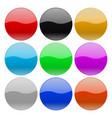 round glass buttons colored set of 3d icons vector image