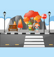 scene with kids crossing street vector image