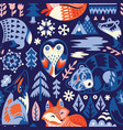 seamless woodland pattern with decorative animals vector image