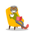 senior african-american man reading a book vector image vector image