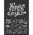 Set of Easter hand drawn elements and handwritten vector image